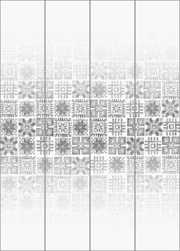 Das Layout des Musters auf dem Glas